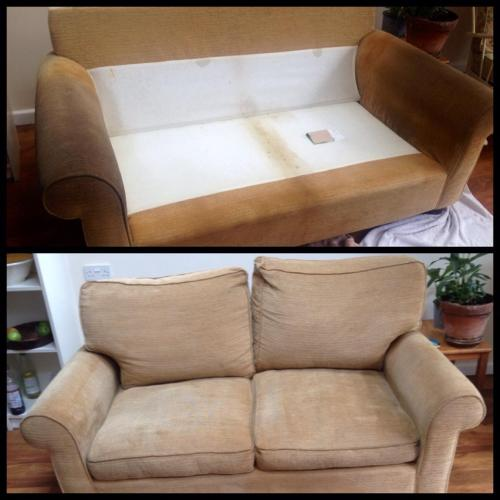 Sofa Cleaned before and after photo
